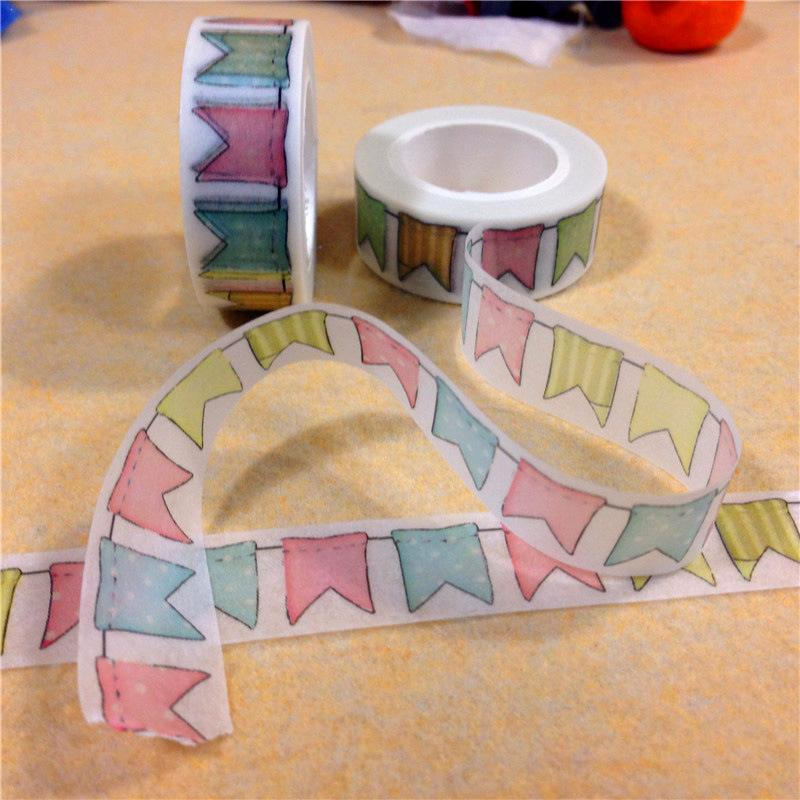 1 Pcs Colored Flag Bunting Paper Tape DIY Decorative Material Scrapbooking Masking Tape Stickers Stationery Decoration Supplies