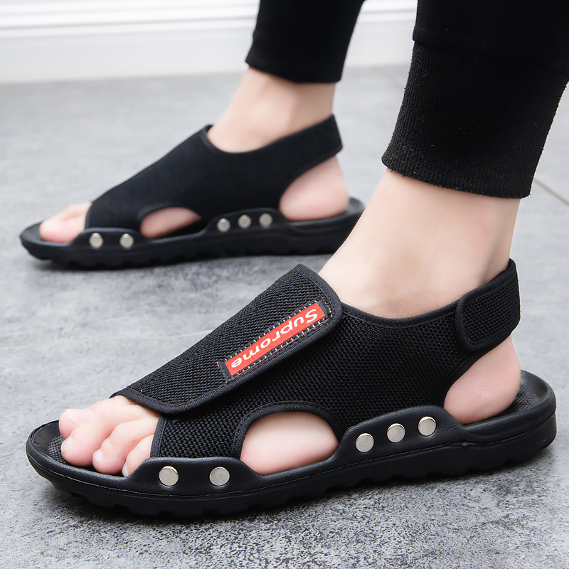 Men's sandals, woven, breathable and casual, new comfortable summer trend 2021, soft soles, slippers for external wear