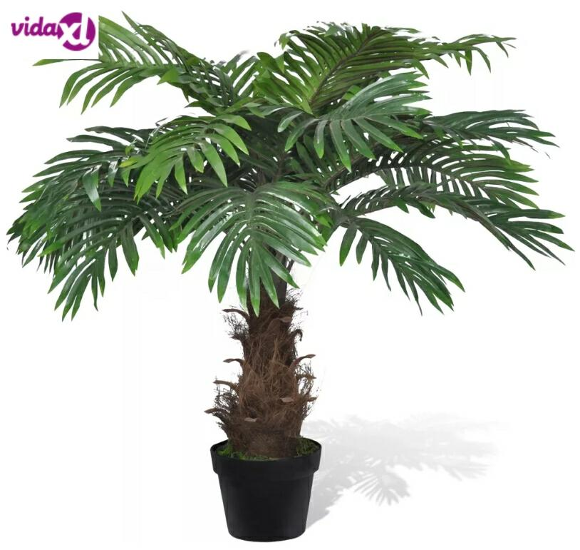VidaXL Palmier Artificiel 80 Cm Plastic Plant And 1 Pot With 21 Green Leaves Never Wither Home Decoration Home Accessories