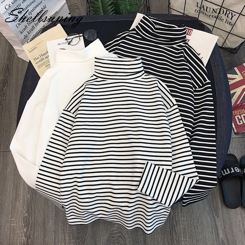 Shellsuning Pullover Women Spring Turtleneck T-shirt Simple Long Sleeve Stretch Tops Basic Striped Ulzzang Casual Clothes M-XL