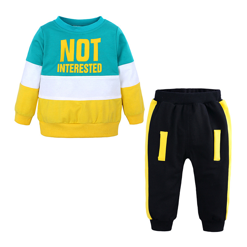 Spring Autumn Baby Casual Tracksuit Children Boy Girl Cotton Color Matching Top and Pants 2Pcs Sets Kids Leisure Sport Suit in Clothing Sets from Mother Kids
