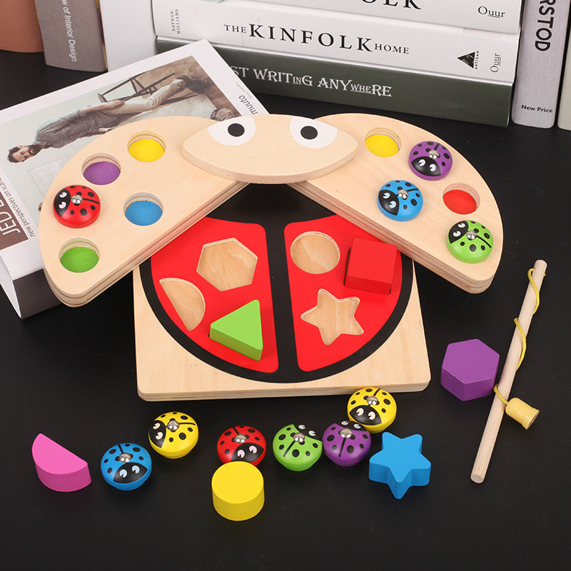 Kids Wooden Magnetic Fishing Toys Early Educational Toys for Children Catch Ladybug Game for Child Birthday Gift