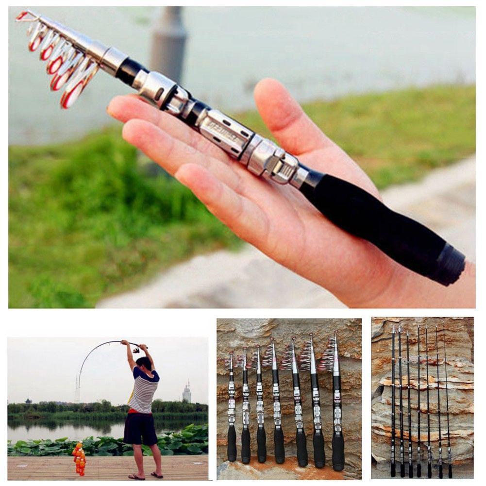 1 Pcs Sea Fishing Super Hard Mini Telescopic Sea Pole Throwing Pole Ultra Short Glass Fiber Plastic Outdoor Fishing Accessories