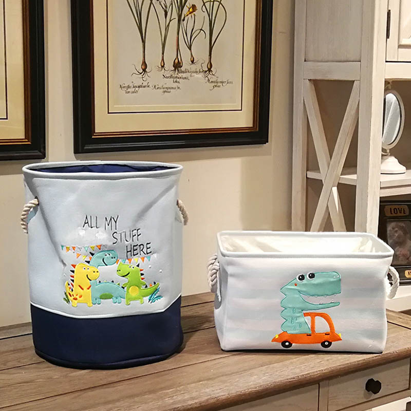 Canvas Multifunction Home Organizer Dirty Laundry Basket Waterproof Toy Storage Box Cartoon Dinosaur Print Large Capacity
