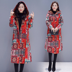 Fashionable and elegant retro-straight-cylinder jacket Chinese wind thermal cotton jacket printing medium-long windbreaker cap