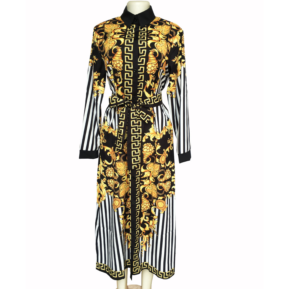 New African Print Elastic Bazin Rock Style Dashiki Long Sleeve Autumn Winter Shirt Dress for Lady High Quality Digital Printing