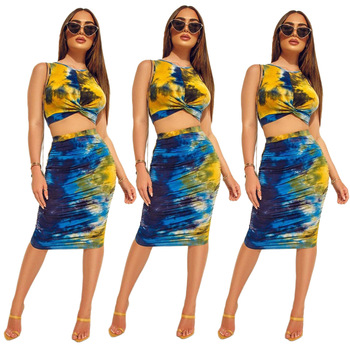 Crop Top Set Matching Sets for Women Summer 2020 Two Piece Skirt and 2 Woman Outfit