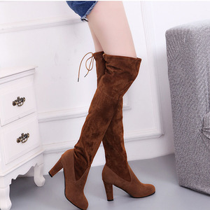 Image 2 - Women Thigh High Boots Fashion Suede Leather High Heels Lace up Female Over The Knee Boots Plus Size Shoes Drop Shipping 2020