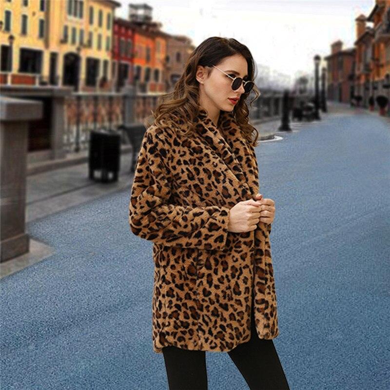 Hf8dcfadff5534c0c8a556cdcdab6208aM Leopard Coats 2019 New Women Faux Fur Coat Luxury Winter Warm Plush Jacket Fashion artificial fur Women's outwear High Quality