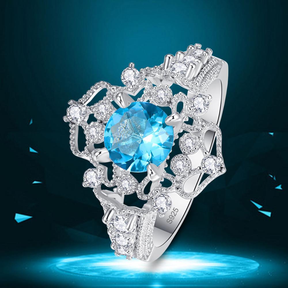 Fleur Bijoux Rose /& Blanc Topaze /& Grenat Gemme Argent Ring Taille 7 8 9 10