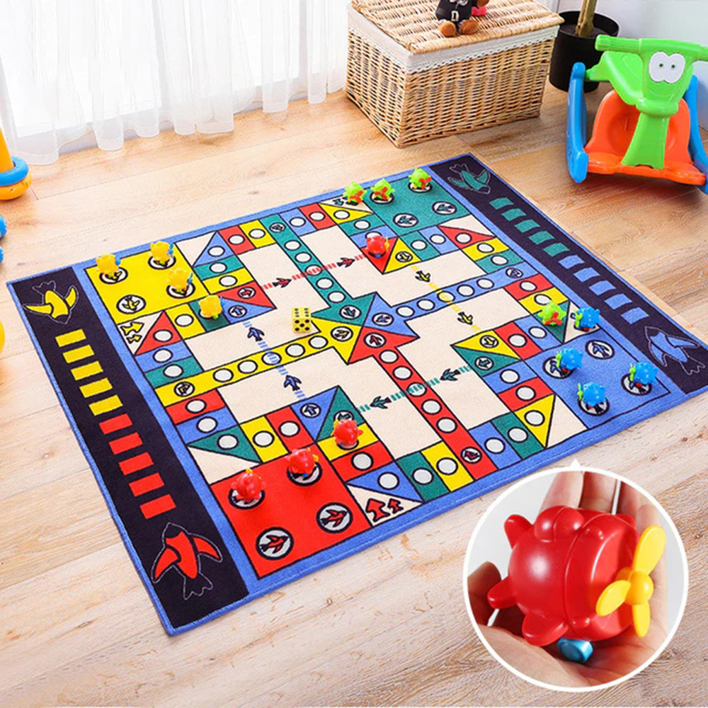 Baby Game Mat 100X130CM Flying Chess Game Mat Including Dice Children Play Mats Anti-skid Machine Washable Mat