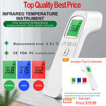 Non contact Infrared Thermometer Digital Forehead Ear Thermometer Body Temperature gun with Fever Alarm and Memory Function
