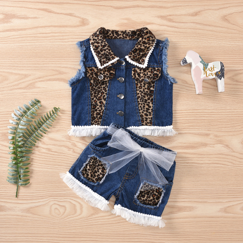Summer Personality Children Clothes Toddler Baby Kids Girls Patchwork Sleeveless Leopard Bow Jeans Shorts Pants Outfits Set 1