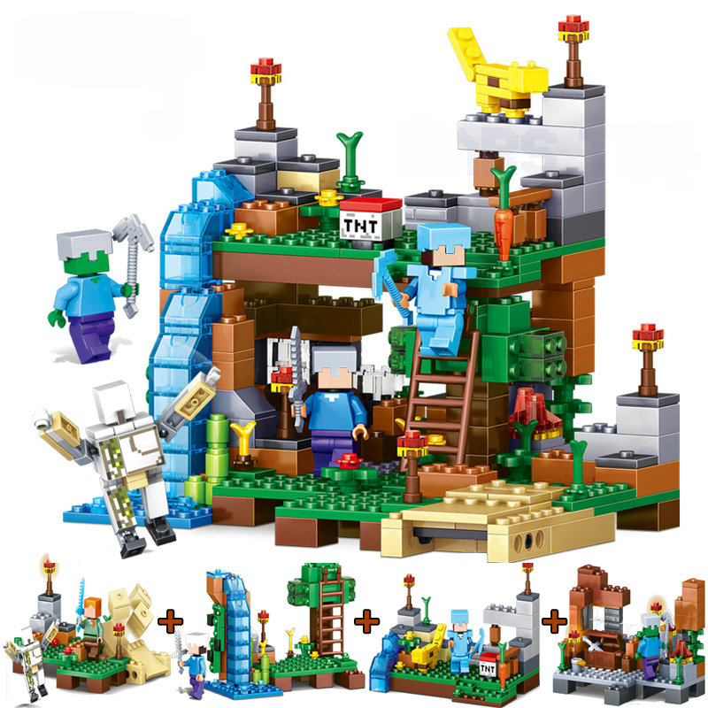 The Ocelot Waterfall Set Fittable Building Blocks With Action Figures Compatible Lepining MinecraftINGlys Toys For Children