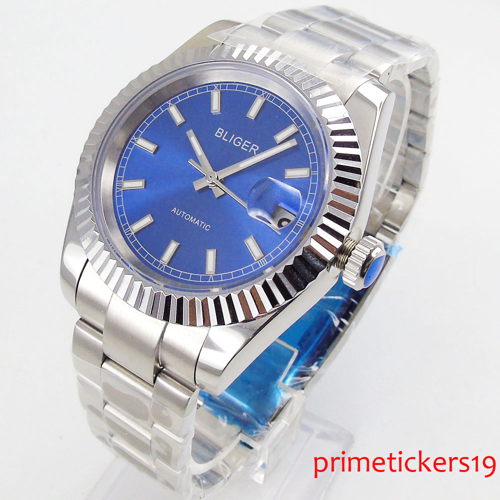 Luxury sapphire glass 40mm blue dial date display  automatic  mens watch|Mechanical Watches| |  - title=