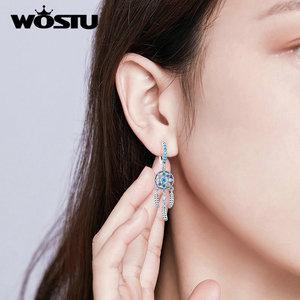Image 5 - WOSTU Hot Sale S925 Dreamcatcher Earrings Authentic 925 Sterling Silver Drop Earrings For Women Wedding Party Gift FIE713