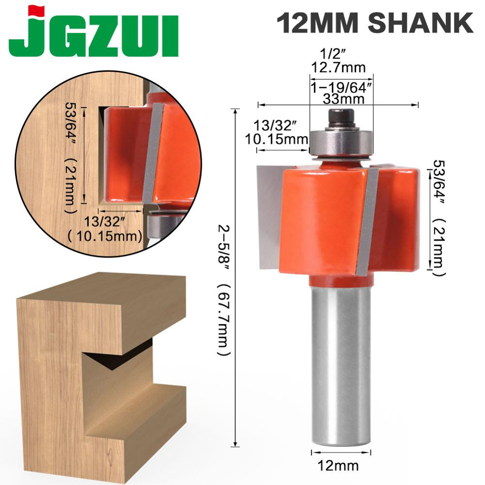 1pc 12mm Shank 3 Teeth T-Sloting Router Bit Bit With Bearing Wood Slot Milling Cutter T Type Rabbeting Woodwork Tool For Wood