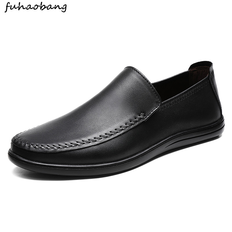Brand Men genuine Leather Casual Shoes outdoor Soft Loafers Men Moccasins Shoes Slip-on flats Men Lightweight Driving Shoes