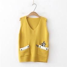 Sweater Vest Pullover Spring V-Neck Female Autumn Casual Women Sleeveless New Sweet Home