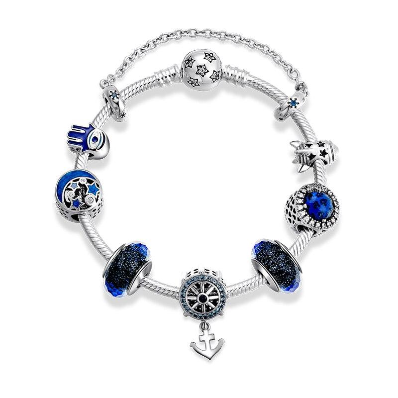 Настоящее серебряные бусины 925 пробы браслеты классические якорь кулон с бусины из муранского стекла браслет для женщин ювелирные изделия
