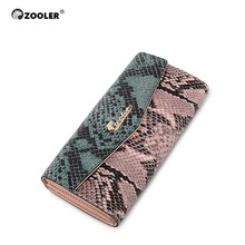 ZOOLER serpentine pattern genuine leather wallets patchwork camouflage wallet purse famous brand OL lady coin long purses A101