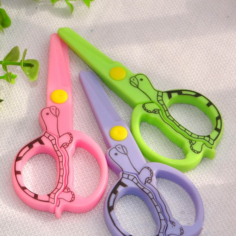 Child Safety Scissors Prevent Hand Injury DIY Photo Tortoise Shape  Plastic Student Scissors/Paper-cutting Scissors