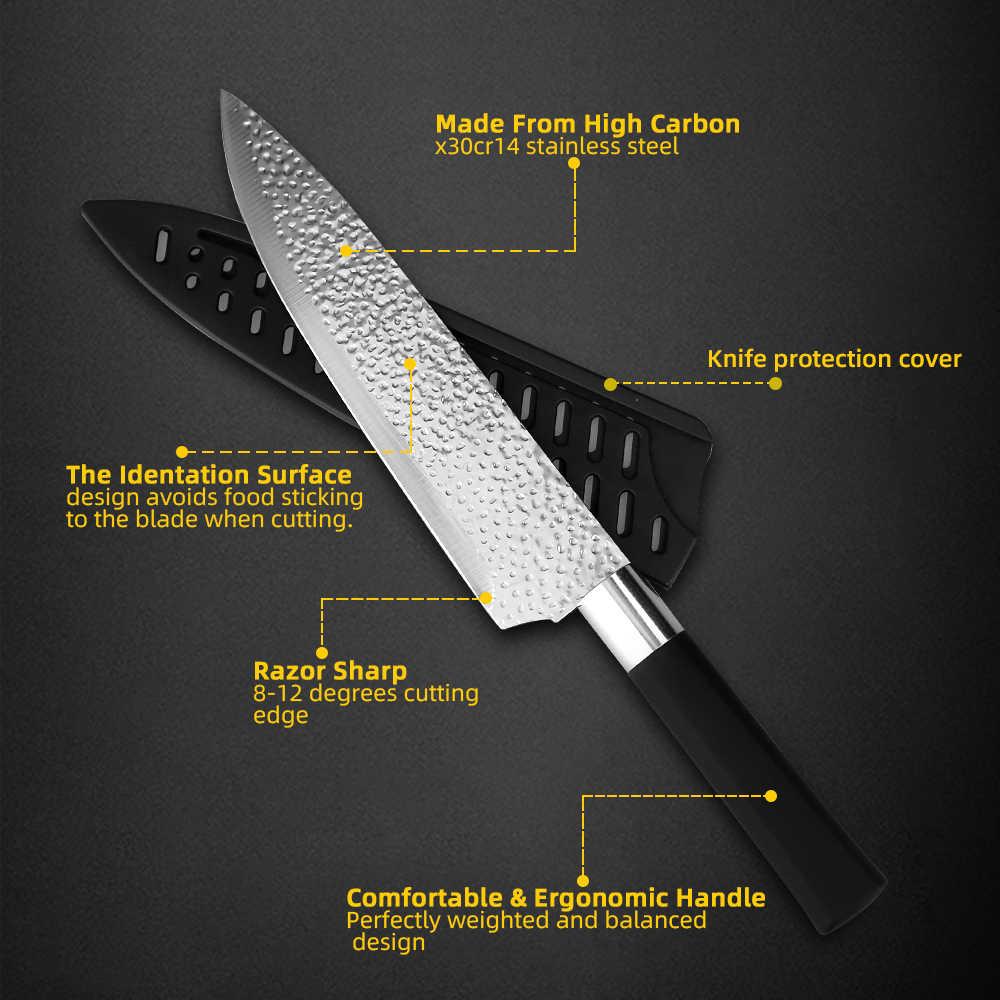 Cuchillo de cocina de 3,5 ''5'' 7 ''8'' Chef 7CR17 440C, rebanador de pan de hoja antiadherente, juego de 6 piezas de cuchillos Santoku de utilidad