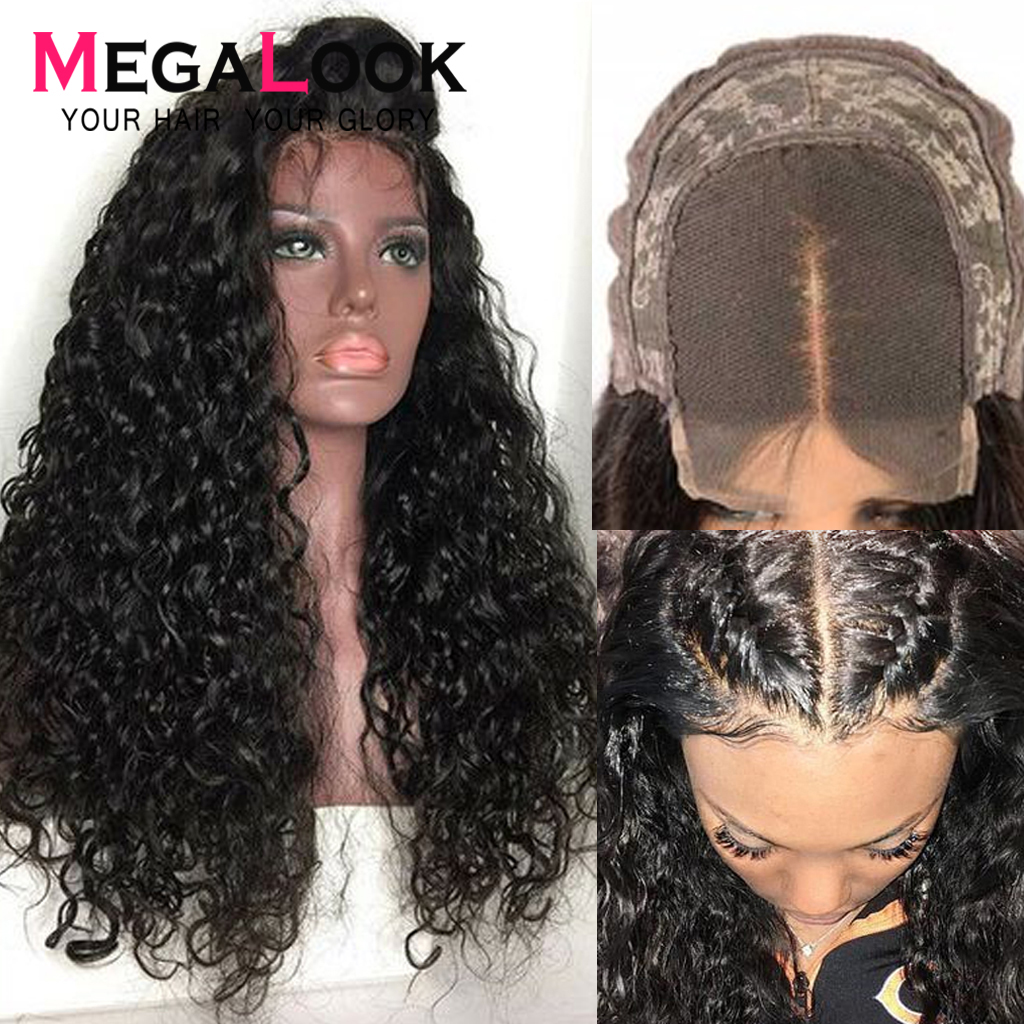 4*4 Closure Wigs Lace Human Hair Wigs 210% Density Natural Color Remy 10inch 30inch Megalook Brazilian Water Wave Wig