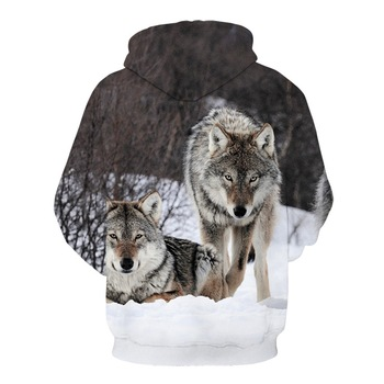 2020 brand new fashion animal 3D printed hoodie, men and women personalized design sweatshirt snow double Wolf harajuku hoodie 2