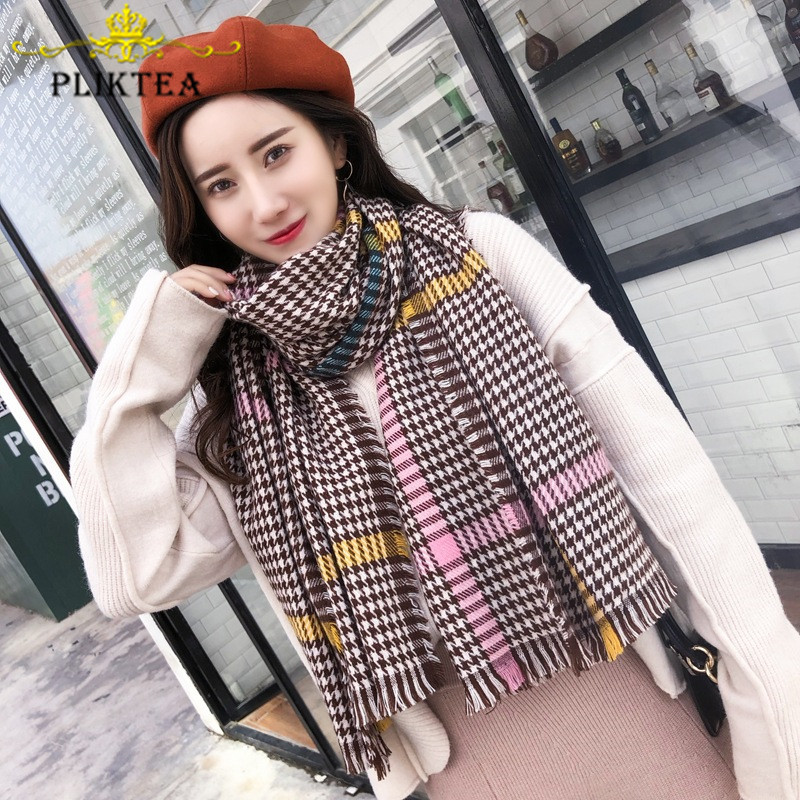Design Luxury Brand Coffee Plaid Scarves For Women Fashion Winter Faux Cashmere Shawl Female Wrap Pashmina Ladies Tippet Scarf