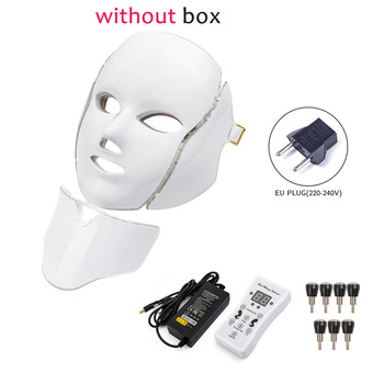 7 Colors Light LED Facial Photon Therapy Beauty Machine With Neck Skin Rejuvenation Face Care Anti Acne Whitening Instrument - United States, EU Plug withoutbox