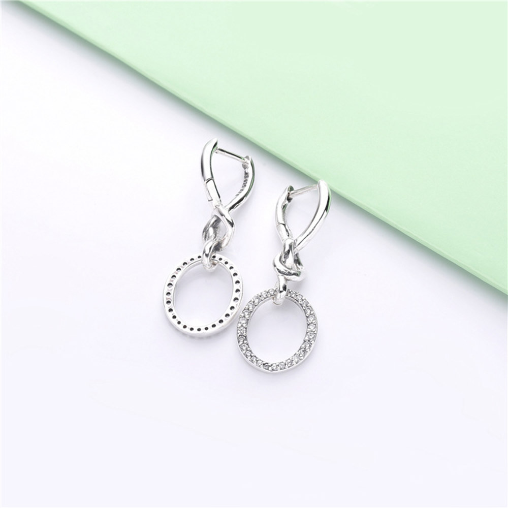 Image 2 - Original PAN 925 Sterling Silver Drop Earrings Love Knotted Heart Woman CZ Earring Charm DIY Jewelry Valentine's Day Gift-in Drop Earrings from Jewelry & Accessories
