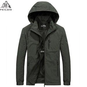 Image 2 - PEILOW yeni artı boyutu M ~ 6XL İlkbahar sonbahar erkek rahat askeri Hoodie ceket erkekler su geçirmez giysiler erkek rüzgarlık ceket erkek