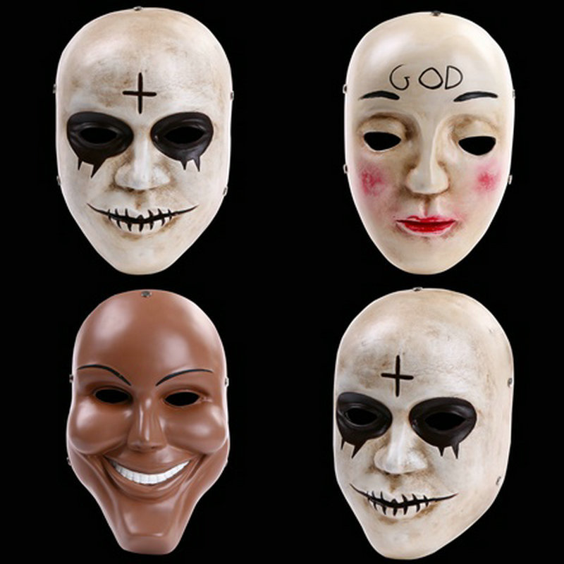 The Purge Full Face Resin Mask Terror Film Human Clear Plan God Cross Masks Halloween Masquerade Party Cosplay Costume Props