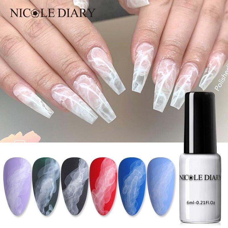 Акварельные чернила NICOLE DIARY, белые, синие, для ногтей, с эффектом дыма, волшебный размазываемый пузырь, лак для творчества салонные украшения...