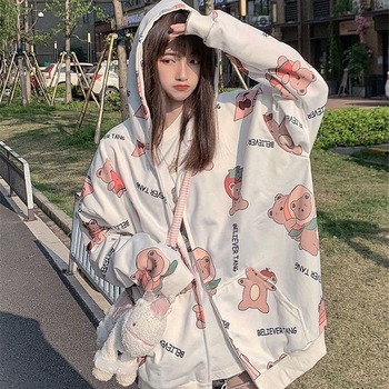 Cute Bear Print Hoodies Women Harajuku Sweatshirts Japan Kawaii Hoodie Pocket Casual Pullovers Tops Autumn Oversized Hoodies New 1