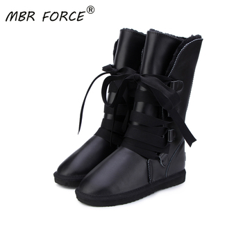 MBR FORCE Australia Classic  Botas Mujer Genuine Cowhide Leather Women Snow Boots Fur Winter Boots Waterproof Women Long Boots top fashion 2018 real wool botas mujer high quality genuine sheepskin leather snow boots natural fur waterproof women shoes