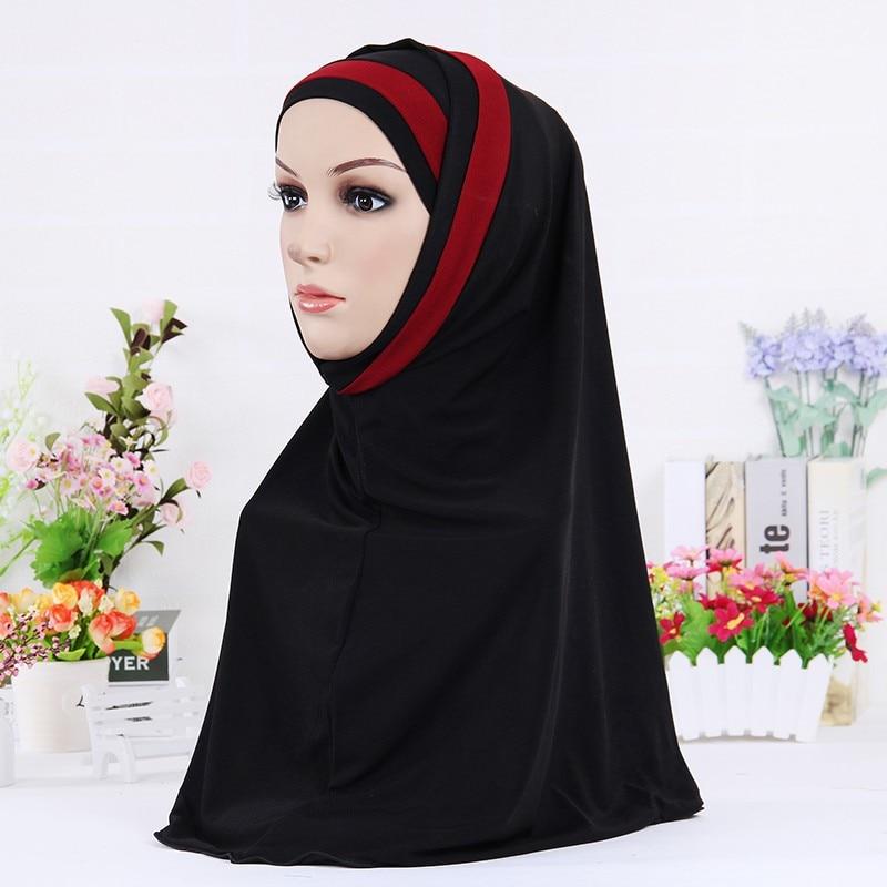 Muslim Scarves For Women Solid Color Stripe Instant Shawl Hijab Femme Musulman Arab Wraps Headscarf Islamic Hijabs Kopftuch