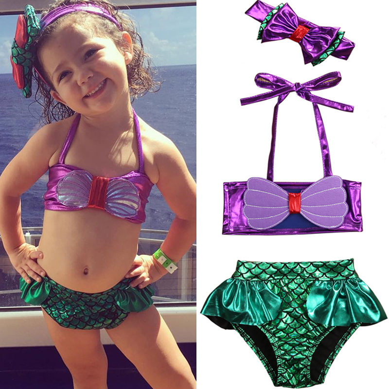 Bebé de la sirena de las niñas traje de niño niños camiseta de verano playera estilo Halter Bikini traje de baño arco diadema 3 uds de vacaciones 2020 traje de baño