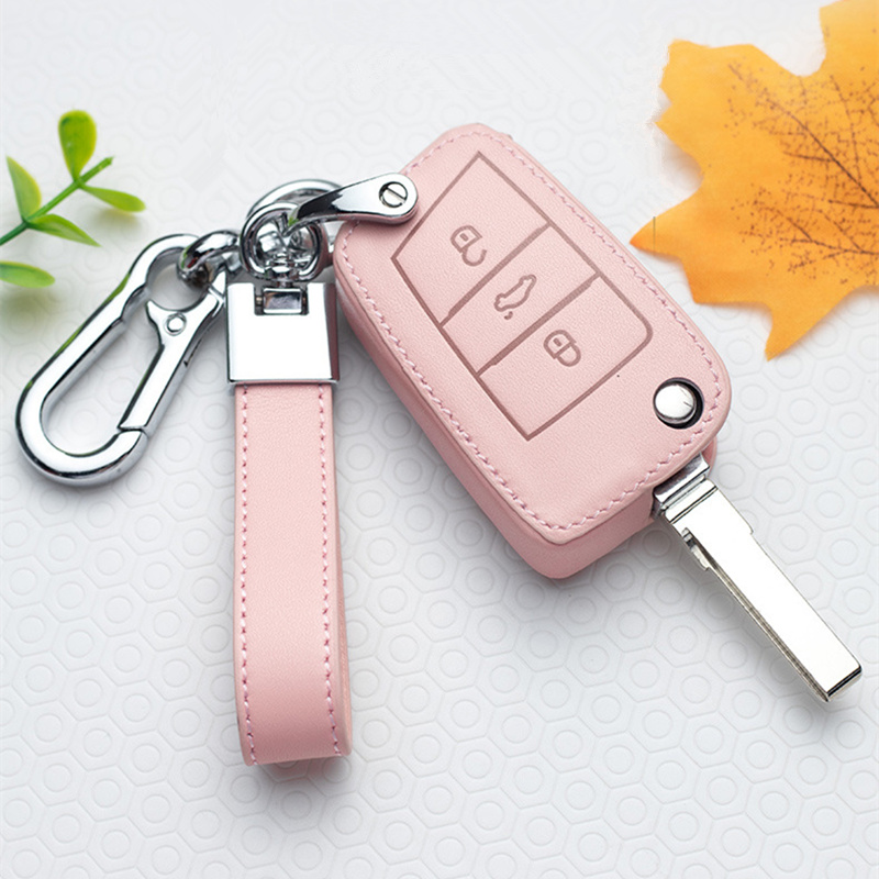 Leather Car Key Cover Case For VW Volkswagen Tiguan MK1 MK2 Magotan Passat B5 B8 Polo Golf 4 5 6 7 mk7 Jetta POLO Eos Scirocco