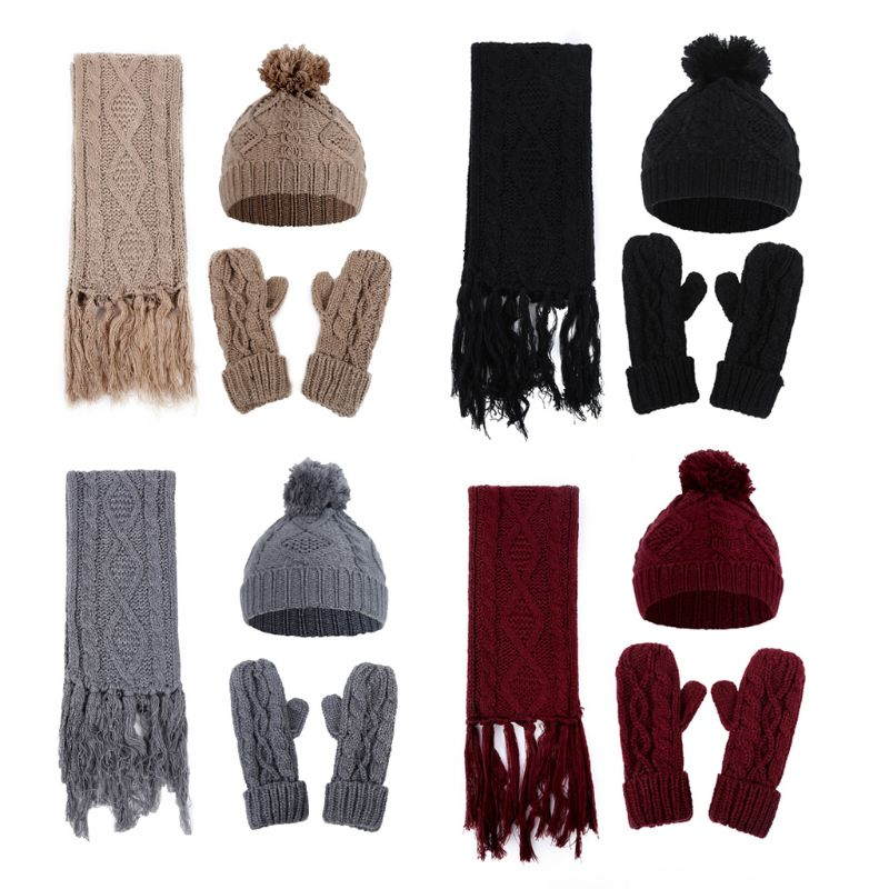 3 In 1 Women Winter Girls Rhombus Cable Knit Warm Beanie Hat Scarf Gloves Set