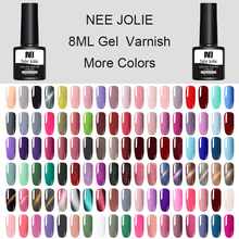 NEE JOLIE 60 Colors Gel Nail Polish Pure Color Soak Off UV Art Cat Eye Effect Varnish Lacquer 8ml Manicure