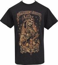 Camiseta preta masculina gritando demônios muerte eterno horror dia dos mortos S-5XL