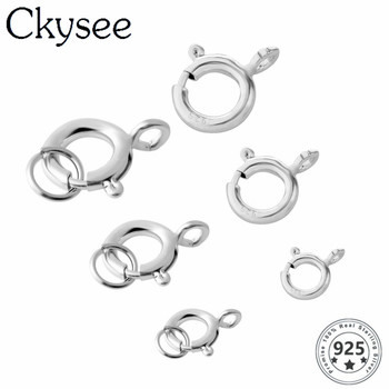 Ckysee 5pcs/lot 925 Sterling Silver High Quality Round Claw Spring Clasps Hooks For Bracelet Necklace Connectors DIY Jewelry Mak