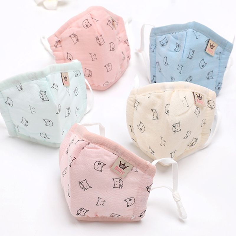 Infant Infant Baby Kids Winter Cotton Anti Dust Mouth Mask Cartoon Fish Polka Dot Cat Printed Candy Color Warmer Washable