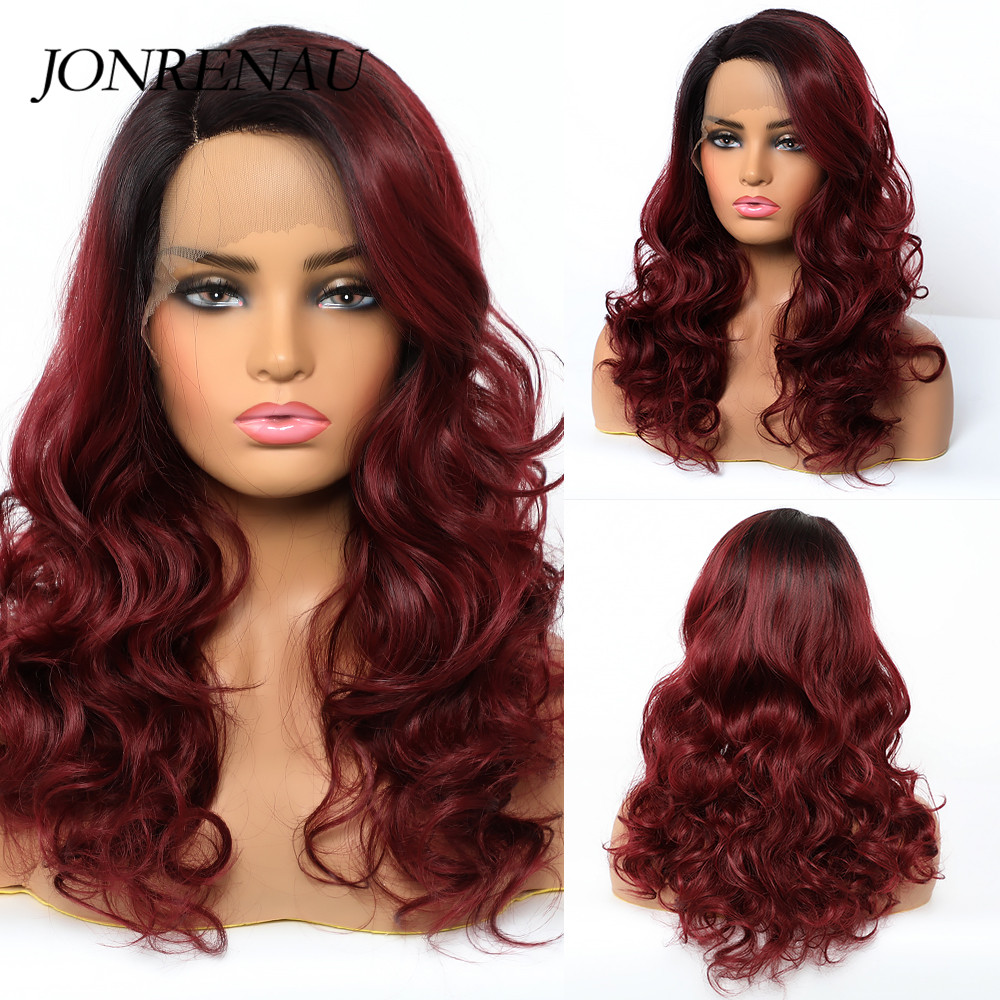 Image 5 - JONREANU Synthetic Lace Front Wig Short Curly Ombre Brown Heat Resistant Fiber Afro Wig for African American WomenSynthetic None-Lace  Wigs   -