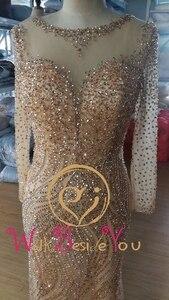 Image 4 - Váy Ngủ Kèm Ren 2020 Chiếu Trúc Hạt Dài Tay Bạc Vàng Cổ Thuyền Nàng Tiên Cá Dài Dạ Hội Đồ Bầu Đi Bộ Cạnh Bên Chính Thức