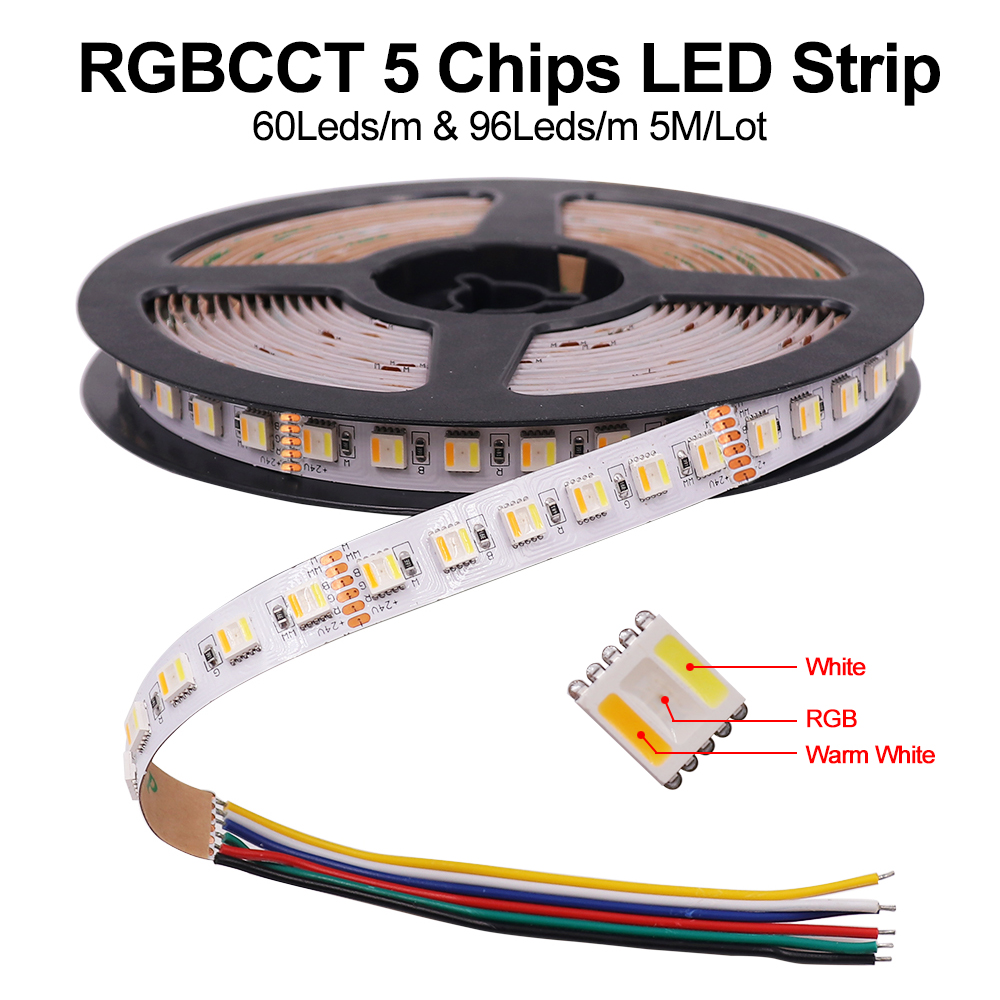 5M 5 Colors In 1 Chip LED Strip 12V 24V RGBCCT RGBW RGBWW 30LEDs/M 60LEDs/M 96LED/M Waterproof LED Tape Flexible LED Ribbon
