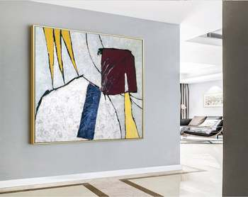 Abstract Painting Large Acrylic Canvas Wall Art Expressionism Yellow And Blue Modern Painting Wall Art On Canvas Yellow Crown