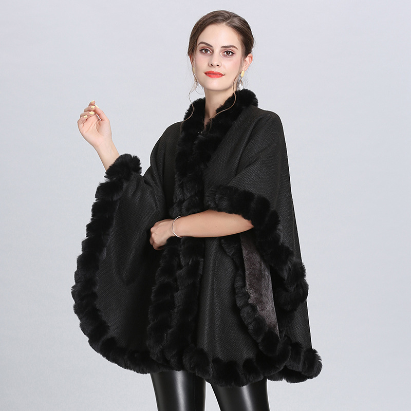 2019 Plus Velvet Poncho Winter Big Cloak Knitted Warm Thick Shawl Women Faux Fox Fur Collar Cape Big Pendulum Dovetail Cardigan in Women 39 s Scarves from Apparel Accessories